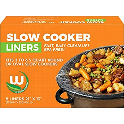 """Heavy-duty Crockpot Liners BPA-free Made in the USA, 8 Liners 13""""x21"""", Bags Fit 3-6.5 Quart Oval and Round Slow Cooker"""