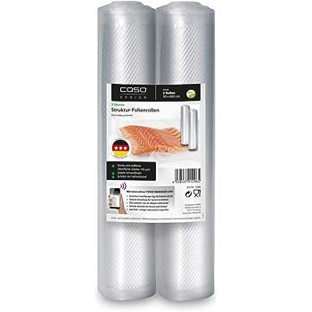 CASO Strukturrollen, 30 x 600 cm / 2 Rollen, für alle Balken Vakuumierer & Folienschweißgeräte, BPA-frei, stark & reißfest ca. 105µm, stabile Schweißnaht, Sous Vide geeignet