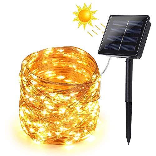 BrizLabs Cadena Luces Solares 200 LED Guirnalda Luces Solares 22M Exterior Impermeable Iluminación Alambre de Cobre para DIY Navidad Jardín Ventana Valla Boda Decoración, Blanco Cálido