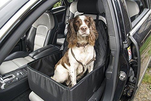 2-in-1-Hundesitz fürs Auto, Sitzbezug, Tragetasche, Sicherheitskorb, faltbar, für den Vordersitz, universell, schwarz