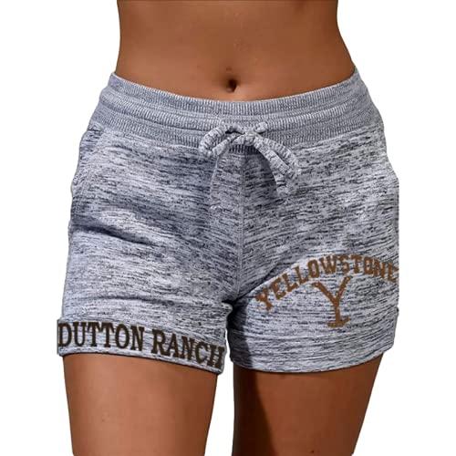 Pantalones cortos de mujer de moda relajada cintura elástica cómoda versátil básica, Gris, M