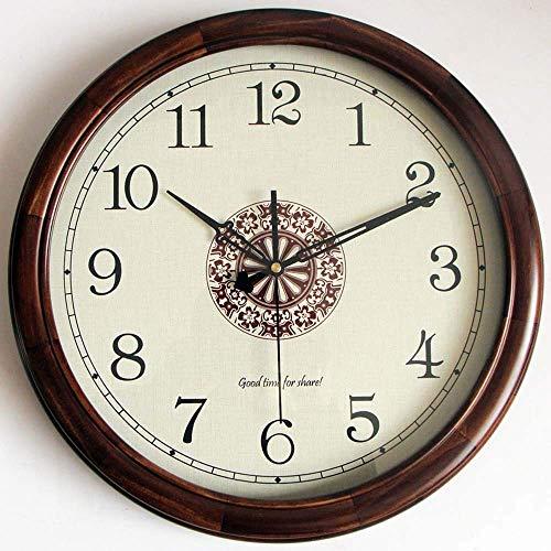 DIEFMJ Reloj de Cuarzo silencioso de Pino Redondo Retro Simple marrón con Estampado de Madera Maciza Reloj de Cuarzo de 16 Pulgadas