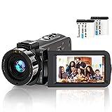 Caméscope Vidéo Youtube 24MP 2,7 Pouces Caméscope Numérique, Vision Nocturne Infrarouge Écran IPS de 3,0 Pouces LCD la Caméra à Zoom Numérique