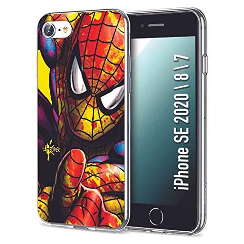 INKOVER Cover per Apple iPhone 7 8 SE 2020 Custodia in TPU Trasparente Opaca Protettiva Guscio Sottile Slim Fit Morbida Design Hero Supereroi Eroi Spiderman Gialla