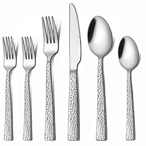 LIANYU 72-Piece Silverware Set with Extra Forks, Stainless Steel Hammered Square Flatware Cutlery Set for 12, Fancy Eating Utensils Tableware, Dishwasher Safe