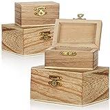 com-four Caja de Madera 4X en Diferentes tamaños - Caja de Madera joyero - Caja pequeña de Madera con Tapa - joyero Decorativo - Caja de Madera (4 Piezas - Cofre - pequeño/Grande)