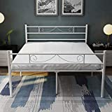 HAAGEEP Metal Platform Full Size Bed Frame with Headboard and Footboard White 18 Inch Tall No Box Spring Needed Double Bedframe Storage