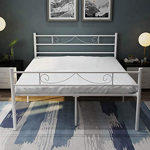 HAAGEEP Platform King Bed Frame with Headboard and Footboard White 18 Inch Heavy Duty No Box Spring Needed Steel Bedframe Storage
