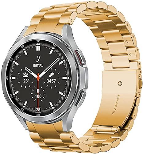 Correa Compatible con Samsung Galaxy Watch 4 44mm 40mm/4 Classic 46mm 42mm,Mujeres Hombres Metal de Acero Inoxidable Pulseras de Repuesto,Oro Rosa
