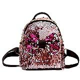 Ansenesna Rucksäcke Damen Klein Pailletten Glitzer Elegant Taschen Mädchen Freizeit Backpacks Für Outdoor Reise (Rosa)