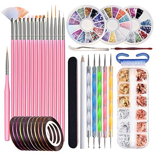 Pinsel für Gelnägel, 50 Stücke Gelnägel Zubehör beinhaltet 15 Stücke Nail Art Pinsel, 12 Töpfe Folienaufkleber, 10 Maniküre Tapes, 5 Punktierstifte und 3 Sätze Nail Art Staßesteine