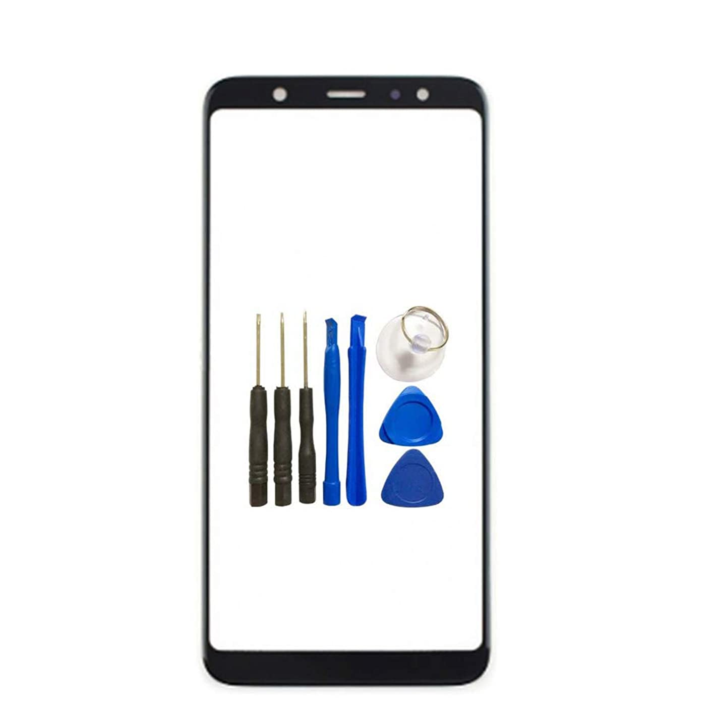 for Samsung Galaxy A6 2018 A600 Screen Glass Panel Lens Replacement - Black Outer Front Screen Glass Panel Lens Replacement for Samsung Galaxy A6 2018 with Opening Tools (Not LCD &Not Digitizer)