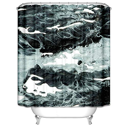 Ukilook Shower Curtain Built-In Eyelets Design, Irregular Safe Shower Curtain, Waterproof Polyester Fabric, Washable, Hotel Quality, Modern Home Bathroom Decorations Black White 48X72 Inch