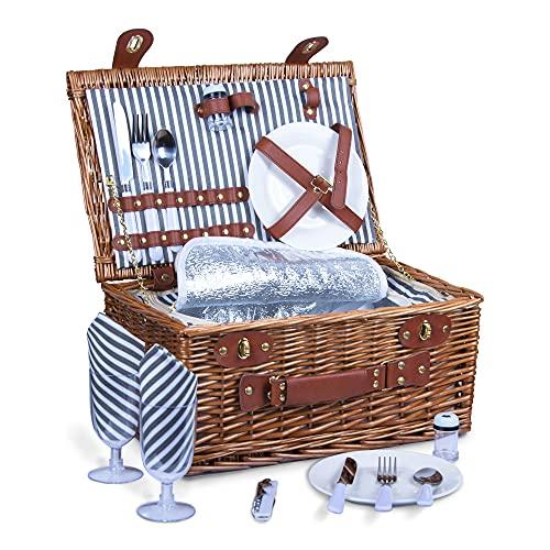SatisInside Kit de 16 cestas de mimbre para picnic con aislamiento mejorado para 2 personas, mango reforzado, color gris