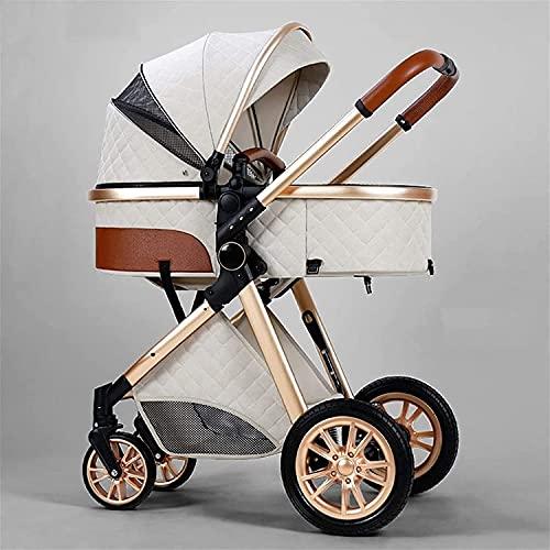BAIW - Cochecito 3 en 1, plegable de lujo, cochecito, absorción de golpes, cochecito de alta vista, con bolsa madre y cubierta de lluvia