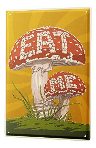 Price comparison product image LEotiE SINCE 2004 Tin Sign Metal Plate Decorative Sign Home Decor Plaques Food Restaurant Mushrooms eat me