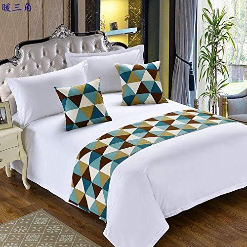 YYSWIM Chemin de Lit Drapeau de Lit Étoile européenne hôtel, Drapeau lit et Petit déjeuner, de lit, Coussin de lit, Couverture de lit, Fleur de Lotus, Linge de lit 2.0 M lit 50 x 260CM