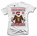 I Came Here to Sleigh Black Santa Ugly Christmas Sweater T-Shirt 6X White Men's Tee (6.1oz)