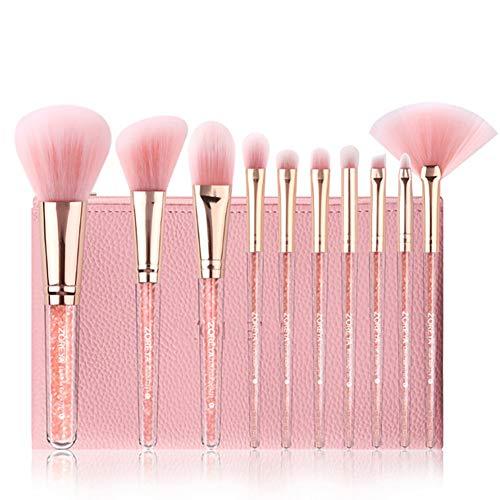 Snner 8PCS Set De Pinceaux De Maquillage En Cristal Kit Pinceaux De Maquillage Paillettes Pinceaux De Maquillage Cheveux Doux Applicateur CosméTique De Fond De Teint Correcteur De Teint (Rose)
