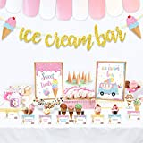 Ice Cream Bar Decorations Kit,Gold Glitter Ice Cream Bar Banner,Ice Cream Bar Sign Toppings Labels Tent Cards Cup Tags Stickers for Ice Cream Theme Party, Summer Party Supplies, Baby Show Decorations