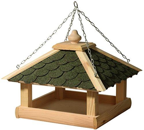 dobar 44256e Klassisches Vogelhaus aus Holz (Kiefer) für Garten, Balkon, mit grünen Bitumenschindeln, stabiler Metallkette zum Aufhängen - Vogelhäuschen Vogel-Futterhaus