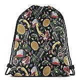 MSGUIDE Women Black Stranger Things Drawstring Backpack Water Resistant Gym String Bag Polyester Cinch Sports Bag Sackpack