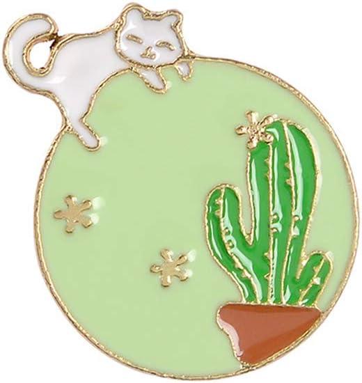 Cute Round Cartoon Enamel Lapel Pin, Brooch Pin Badges Summer Brooch Pins for Clothing Bags Jackets Hats Accessory DIY Crafts (C)