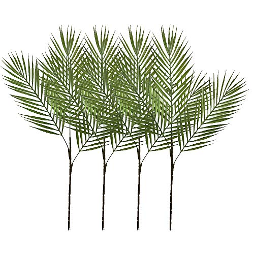 Aisamco 4 Piezas de arbusto de Hoja de Palma Tropical Artificial Planta Artificial con 3 Hojas de plástico Verde Planta de Palma Areca 68...