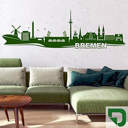 DESIGNSCAPE® Wandtattoo Skyline Bremen 100 x 32 cm (Breite x Höhe) grasgrün DW806016-S-F27