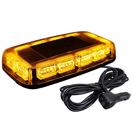 [Upgraded 5] ASPL 48LED Roof Top Strobe Lights, High Visibility Emergency Safety Warning LED Mini Strobe Light bar with Magnetic Base for 12-24V Snow Plow, Trucks, Construction Vehicles (Amber)