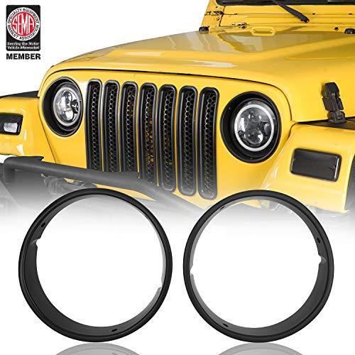 Hooke Road Wrangler TJ Matte Black Headlight Bezels Cover Trim for 1997-2006 Jeep Wrangler TJ (Pair)