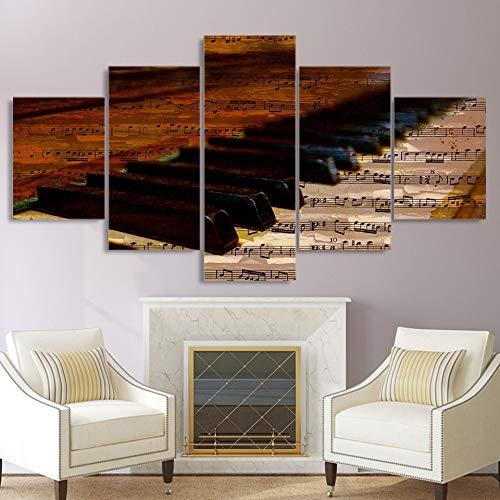 Moderne HD Framework Home Decor Wall Art 5 Panel Piano toetsenbord muzieknoten Canvas schilderij Poster woonkamer gedrukte foto's