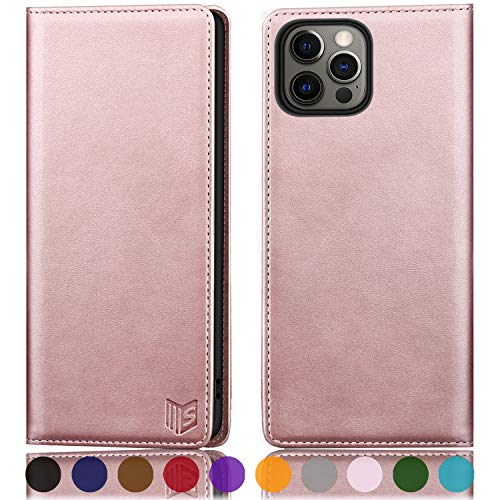 SUANPOT for iPhone 12 Pro Max Leathel Wallet case with RFID Blocking Credit Card Holder, Flip Folio Book Magnetic PU Cell Phone Plus case for Apple 12 promax 5G Pocket for Men Women 6.7 Rose Gold