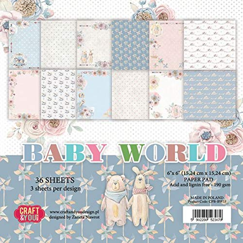 Craft and You Design CPB-BW15 Baby World Scrapbooking Papier, mehrfarbig, 6' x 15,24 cm