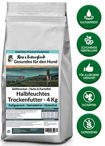 Rosi's Futterglück Halbfeuchtes Hundefutter aus Frischfleisch – 4 kg Premium Trockenfutter Hund getreidefrei – Huhn und Kartoffel 100% frisches Muskelfleisch