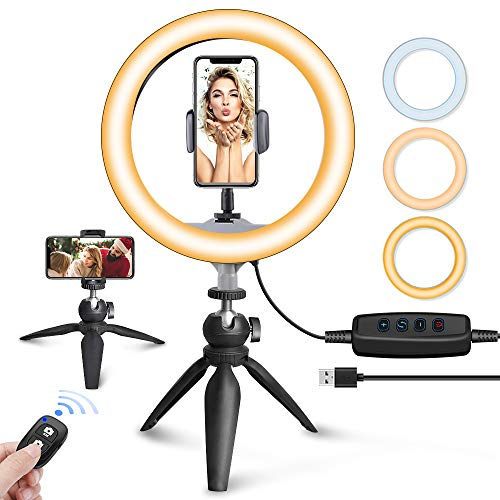 UBeesize 10' LED Ring Light with Tripod Stand & Phone Holder, Dimmable Desk Makeup Ring Light,...