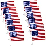 12 Pack US American Patriotic Decoration Car Window Clip USA Flag 17' x 12' Clip onto Car Window - Pack of 12