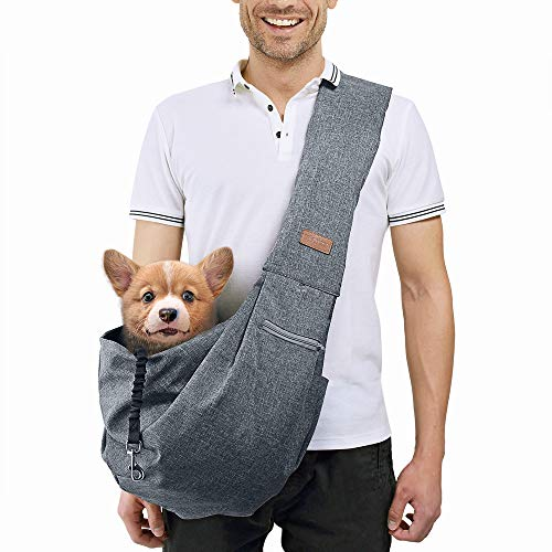 TOMKAS Medium Padded Shoulder Strap Dog Cat Carrier Sling (Grey for 8-15 lbs)