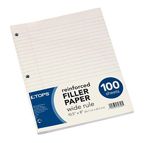 "TOPS Reinforced Filler Paper, Wide Rule, 10-1/2 x 8"", 100 Sheets, (62356)"