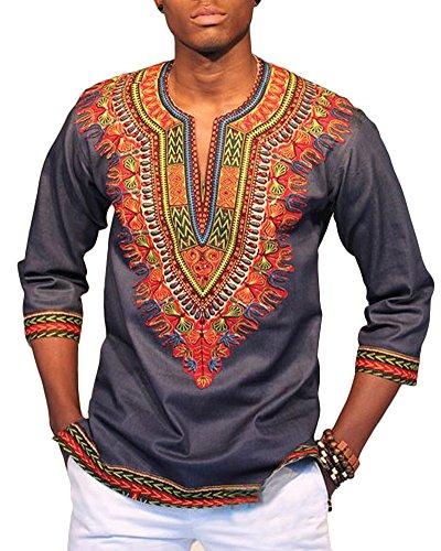 Tradition Beiläufiger Dashiki Hemden Traditionelle Afrikanische Herren T-Shirt Mittlerer Ärmel Slim Fit Grau M