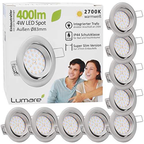 9x Lumare LED Einbaustrahler 4W 400 Lumen IP44 nur 27mm extra flach Einbautiefe LED Leuchtmodul austauschbar Deckenspot AC 230V 120° Deckenlampe Einbauspot warmweiß silber rund Badezimmer