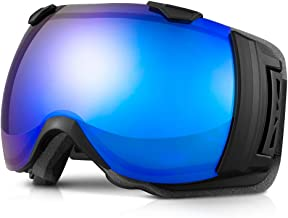 Terra Hiker OTG Ski Snowboard Goggles, Wide View Goggles for Men, Women and Youth, with 18.5%/28% VLT, 100% UV Protection and Interchangeable Lens