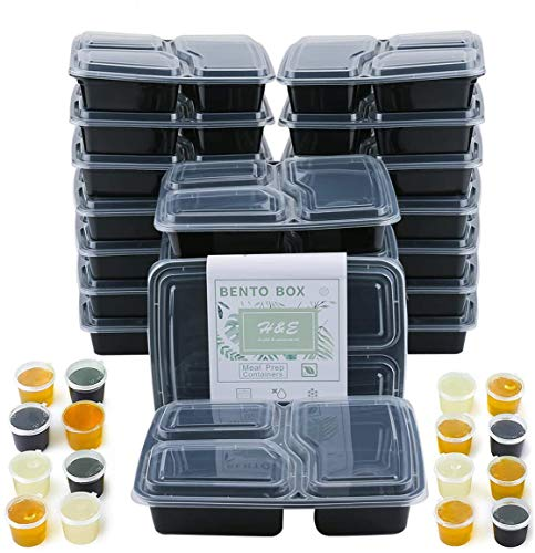 20 Packs Meal Prep Containers with lids Three Compartment Lunch Box...