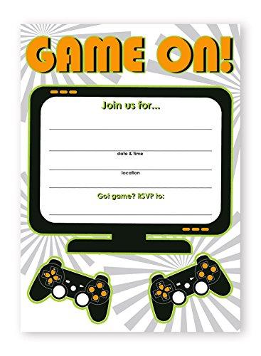 Gaming Party Invitations - 10 Invitations + 10 Envelopes