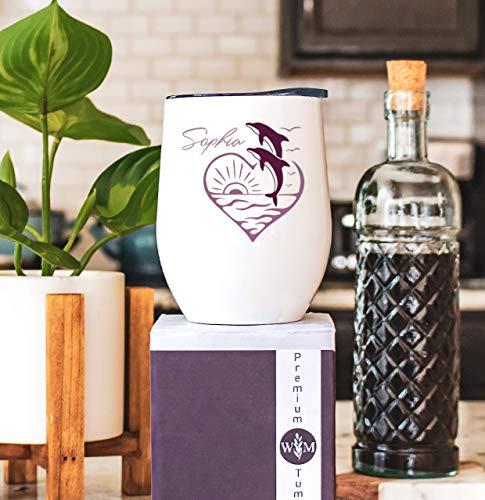 Vaso de vino aislado de acero inoxidable con diseño de delfín, vaso de delfín personalizado, vaso con pajita, regalo de delfín para ella, regalo de cumpleaños