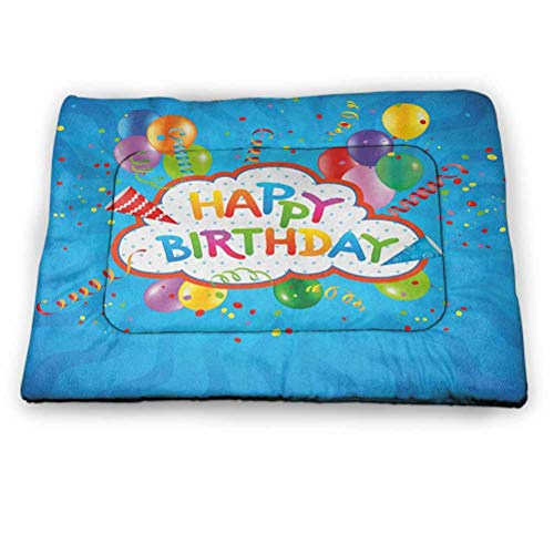 "Dog Beds Crate Pad Mat Birthday Pet Cooling Mat,Portable & Washable Wavy Blue Colored Backdrop with Greeting Text Party Hats Confetti Best Wishes for Kennels, Crates and Beds- Pets (18""x12"")"