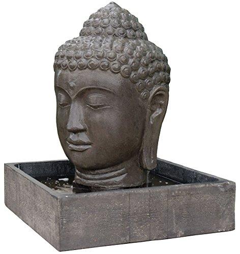 korb.outlet Wasserlauf Steinguss Buddha Kopf/Angkor Watt Brunnen für Haus und Garten/Zimmer-brunnen Indoor & Outdoor (Becken 70x70 Kopf 50x50x75)