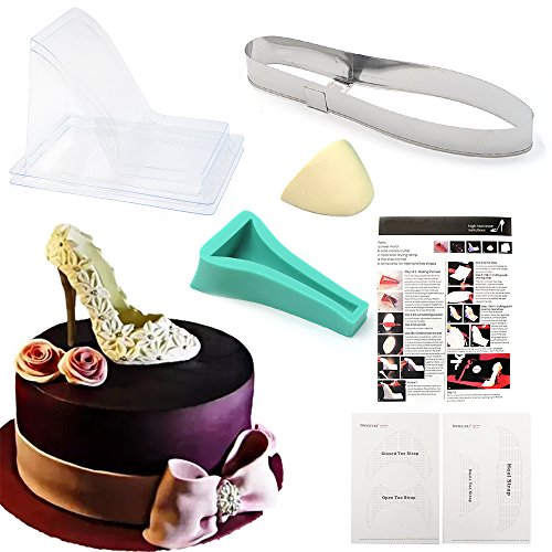 Reelva Silikonform High-Heel-Schuh, für Fondant-Kuchendekoration, Blütenpaste, Cupcake-Dekoration