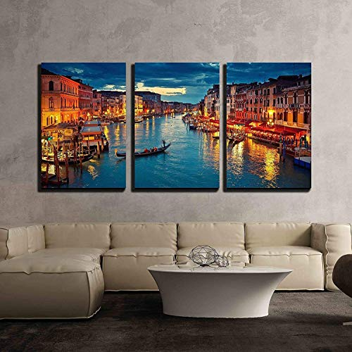 "wall26 - 3 Piece Canvas Wall Art - View on Grand Canal from Rialto Bridge at Dusk, Venice, Italy - Modern Home Decor Stretched and Framed Ready to Hang - 16""x24""x3 Panels"