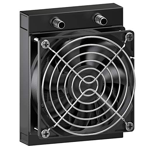 CLDIY Refrigerador de agua de 12 tubos de aluminio con ventilador para ordenador de CPU de PC, sistema de refrigeración por agua, CC 12 V, 120 mm